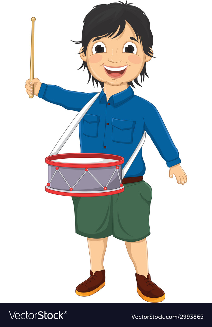 Of a little boy playing drum vector | Price: 1 Credit (USD $1)