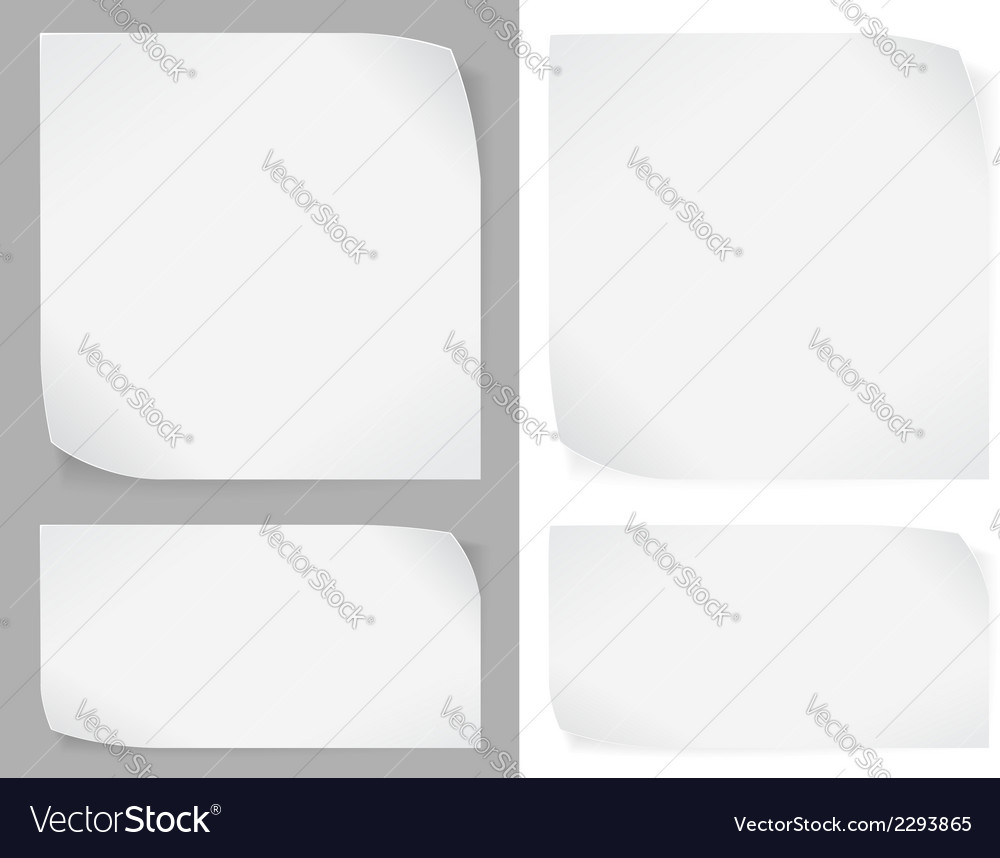 Set of white paper stickers vector | Price: 1 Credit (USD $1)