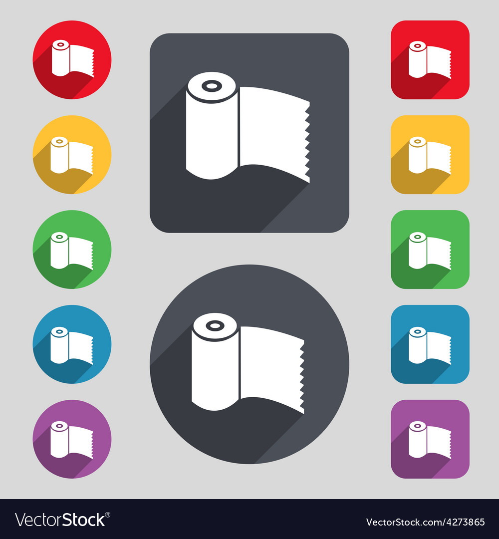 Toilet paper wc roll icon sign a set of 12 colored vector | Price: 1 Credit (USD $1)