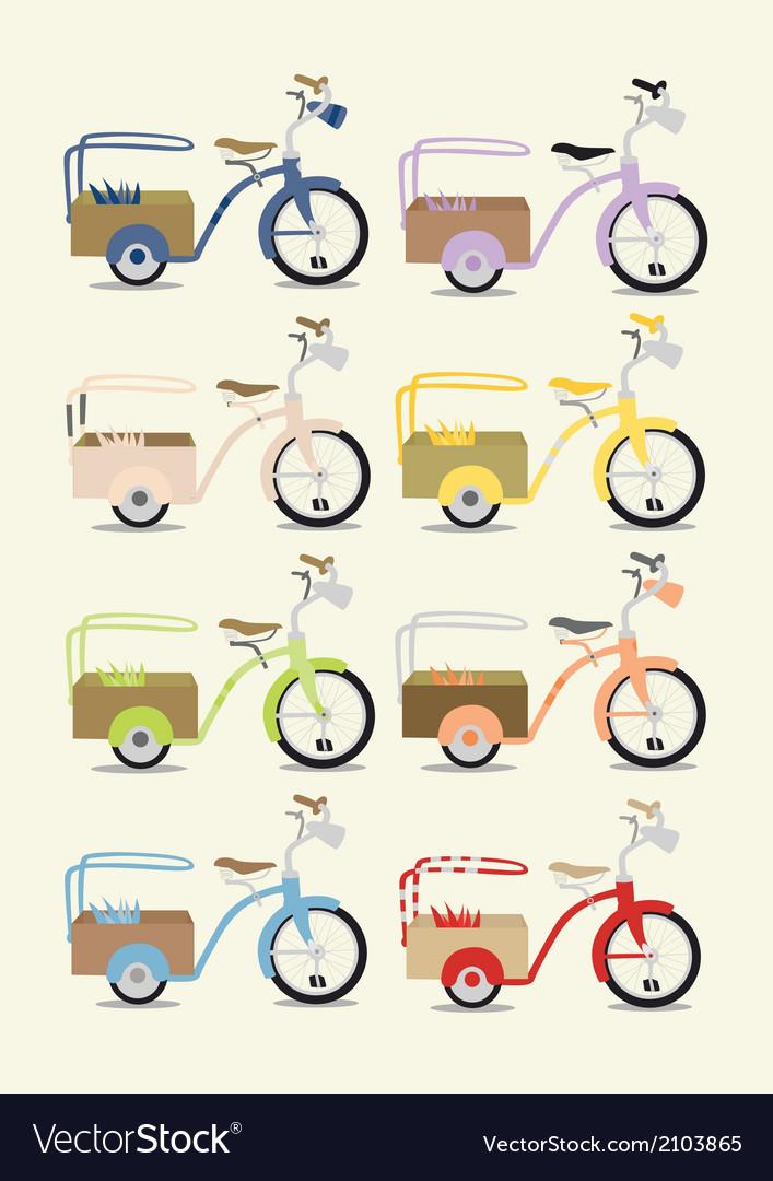 Vintage bicycle set vector | Price: 1 Credit (USD $1)