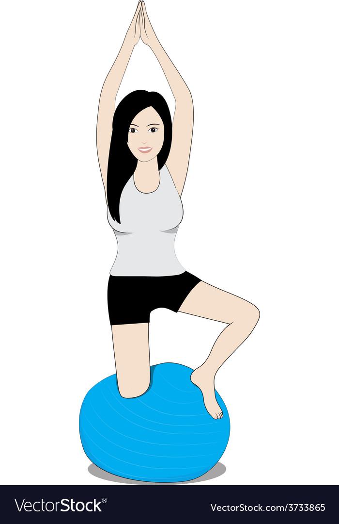 Women on balance ball vector   Price: 1 Credit (USD $1)