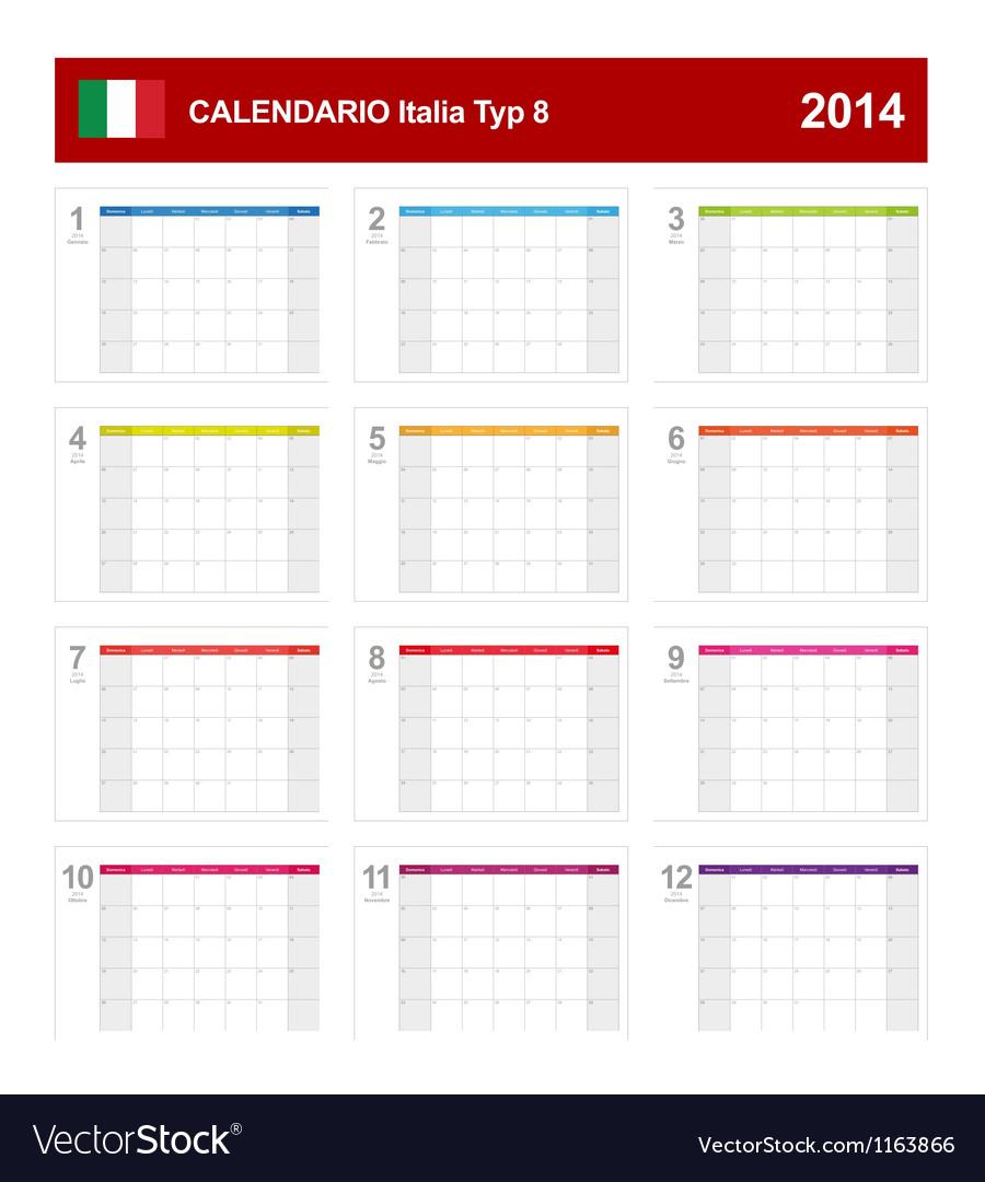 Calendar 2014 italy type 8 vector | Price: 1 Credit (USD $1)