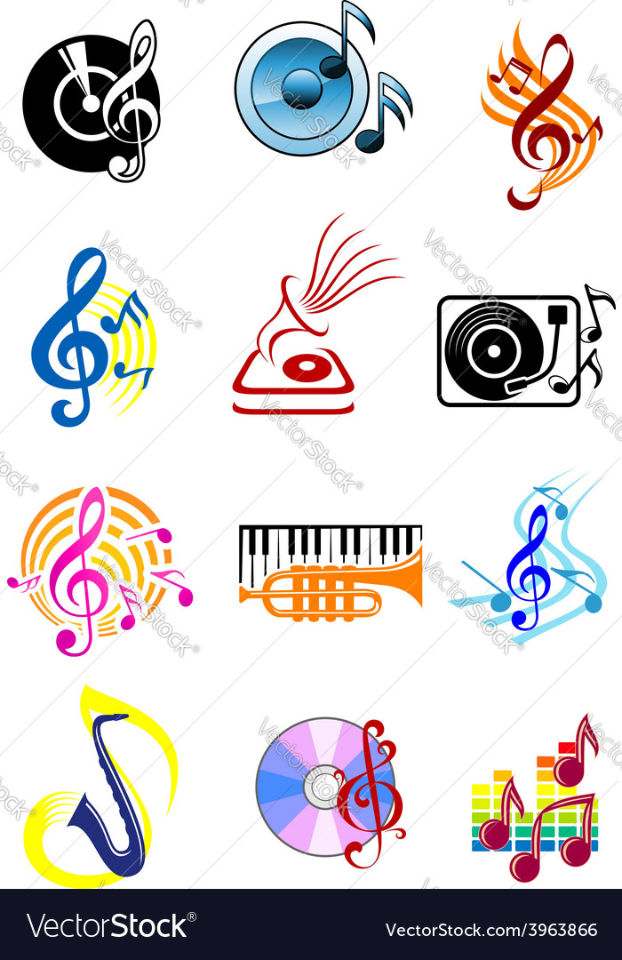Colorful musical icons set vector | Price: 1 Credit (USD $1)