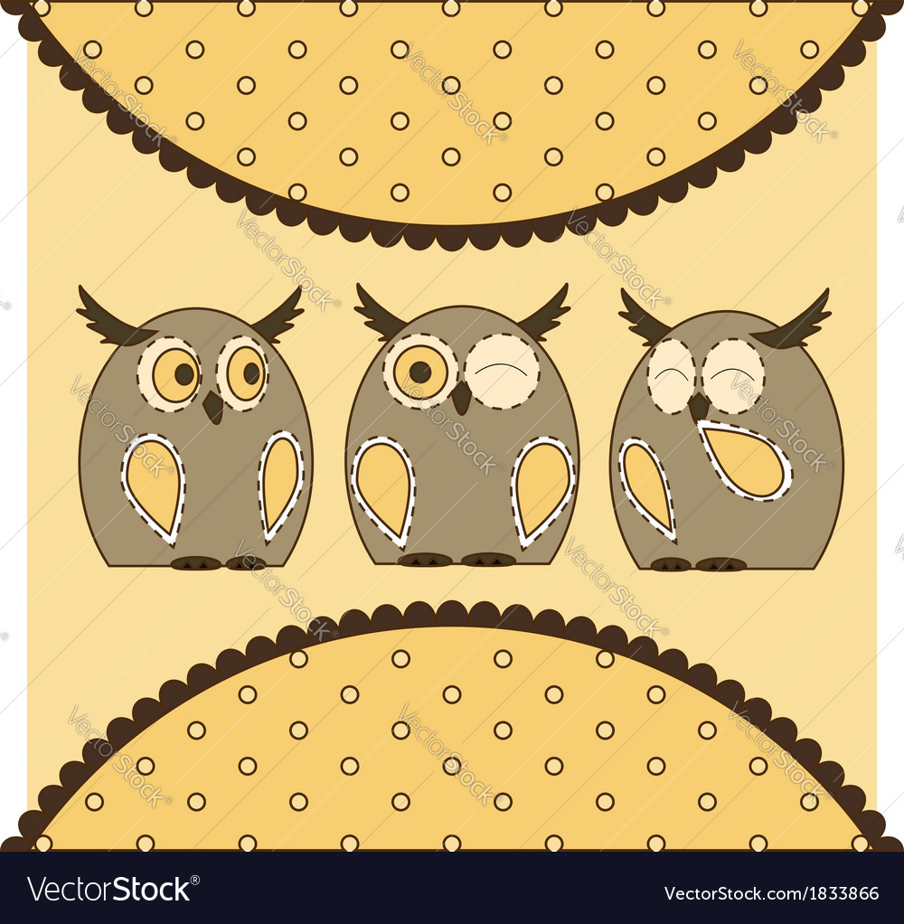 Cute little owls vector | Price: 1 Credit (USD $1)