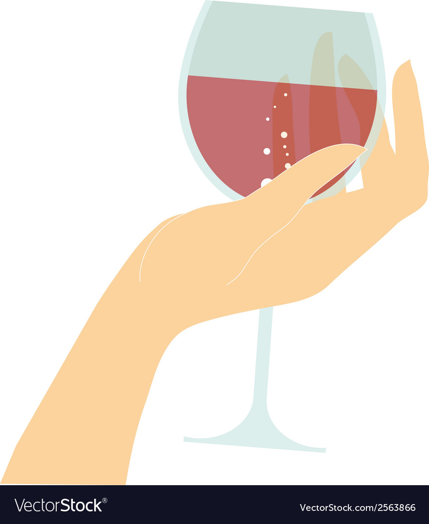 Female hand holding glass with red wine vector | Price: 1 Credit (USD $1)