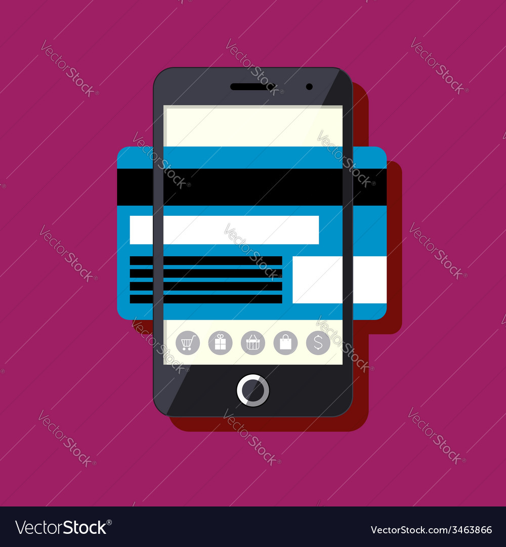 Flat design mobile payment concept vector   Price: 1 Credit (USD $1)