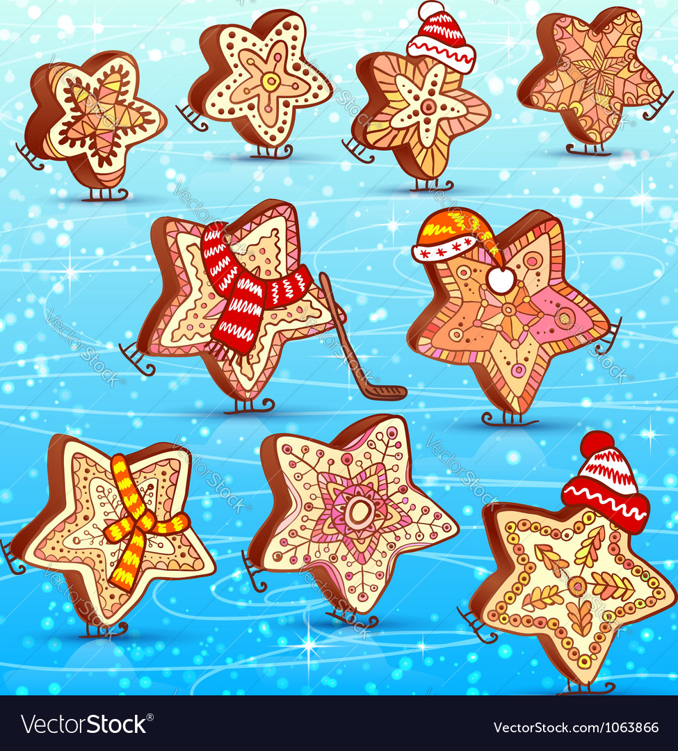 Funny honey-cakes sweets skating on the blue ice vector | Price: 1 Credit (USD $1)