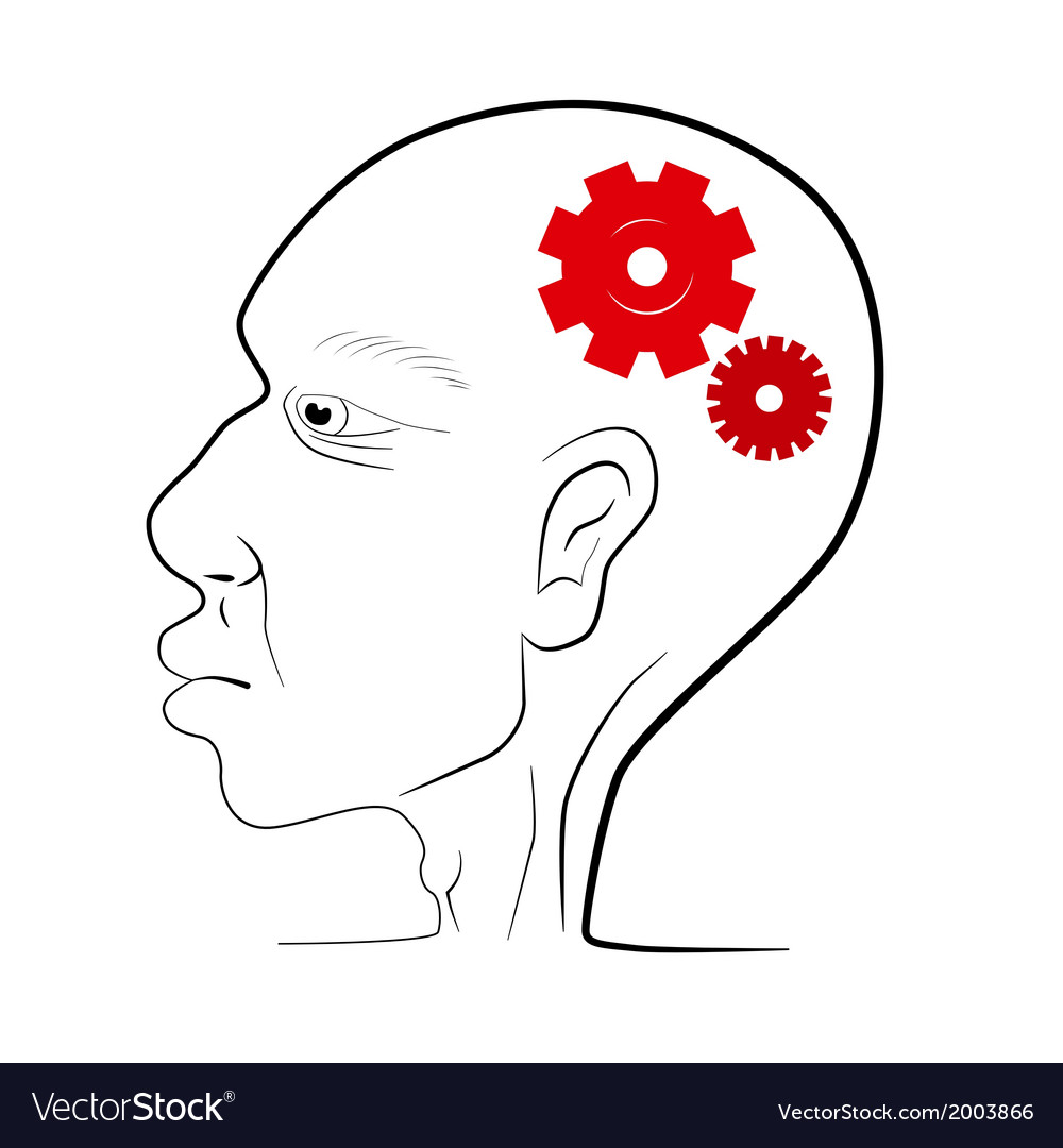 Man head with red cogs - gears vector | Price: 1 Credit (USD $1)