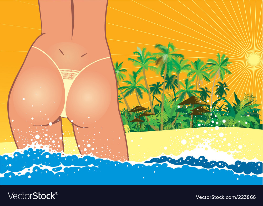 Sexy girl in bikini vector | Price: 1 Credit (USD $1)