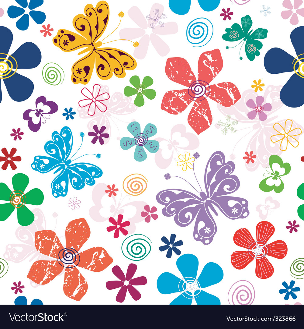 Spring seamless white floral pattern vector | Price: 1 Credit (USD $1)