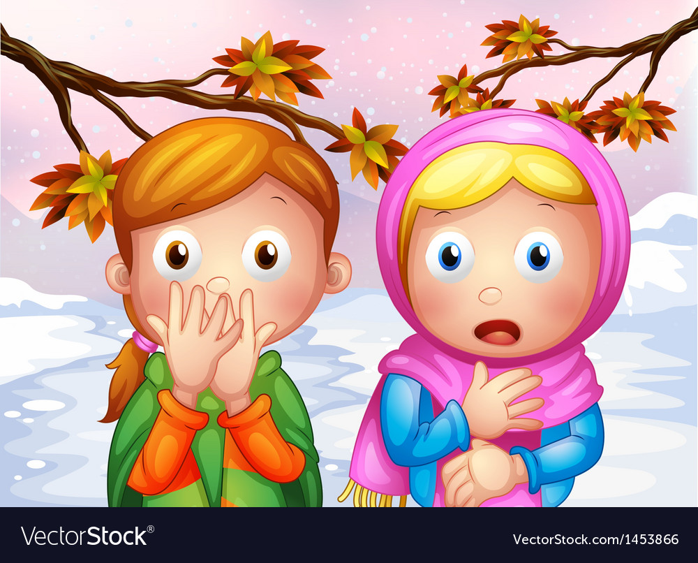 Two shocked young girls vector | Price: 1 Credit (USD $1)