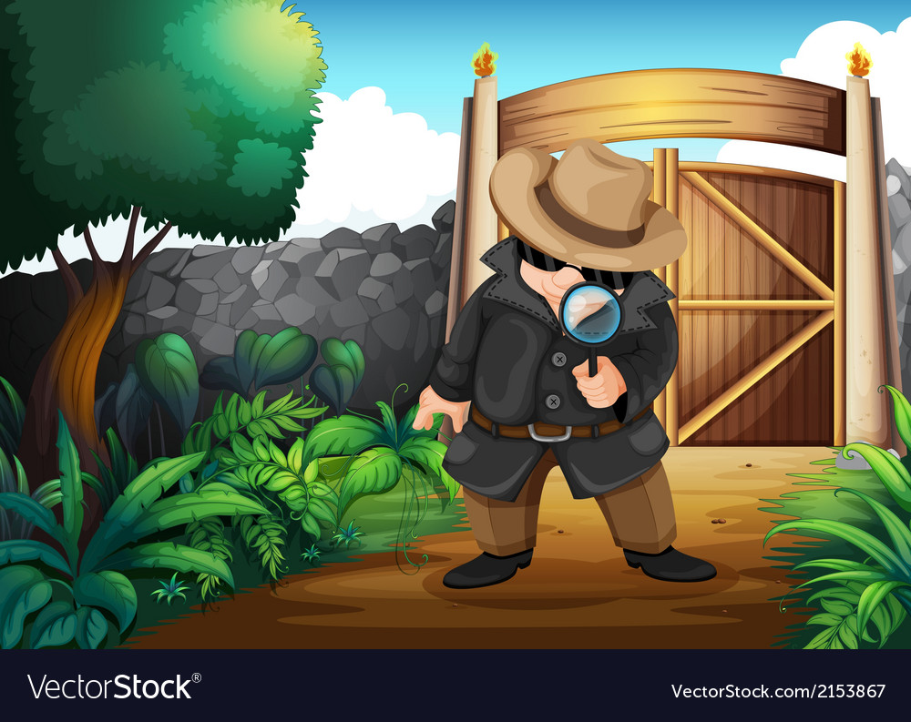 A detective at the backyard vector | Price: 3 Credit (USD $3)