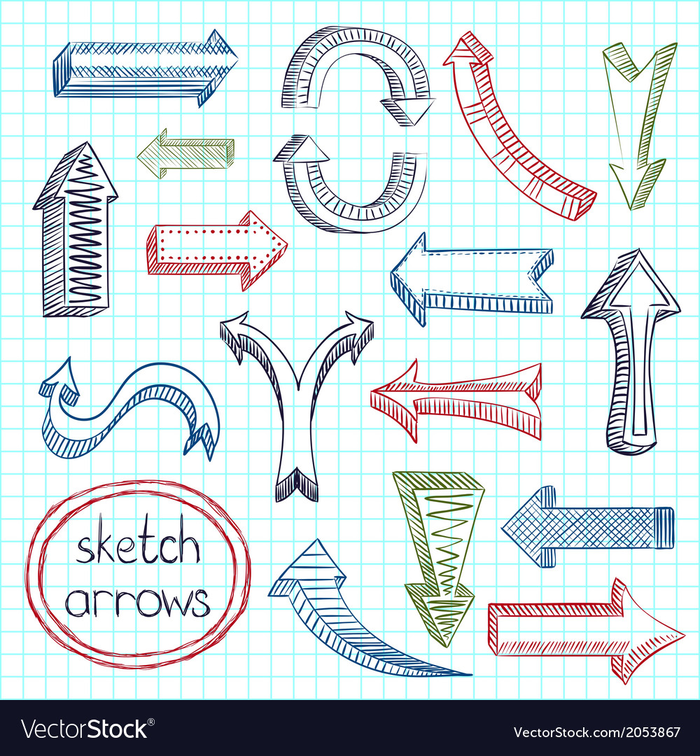 Arrows icon set sketch vector | Price: 1 Credit (USD $1)