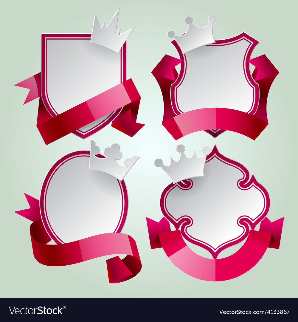 Badge set with ribbon and crown vector | Price: 3 Credit (USD $3)