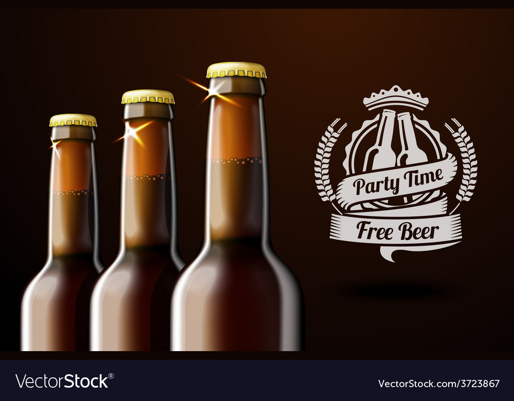Banner for beer adwertisement with three realistic vector | Price: 1 Credit (USD $1)