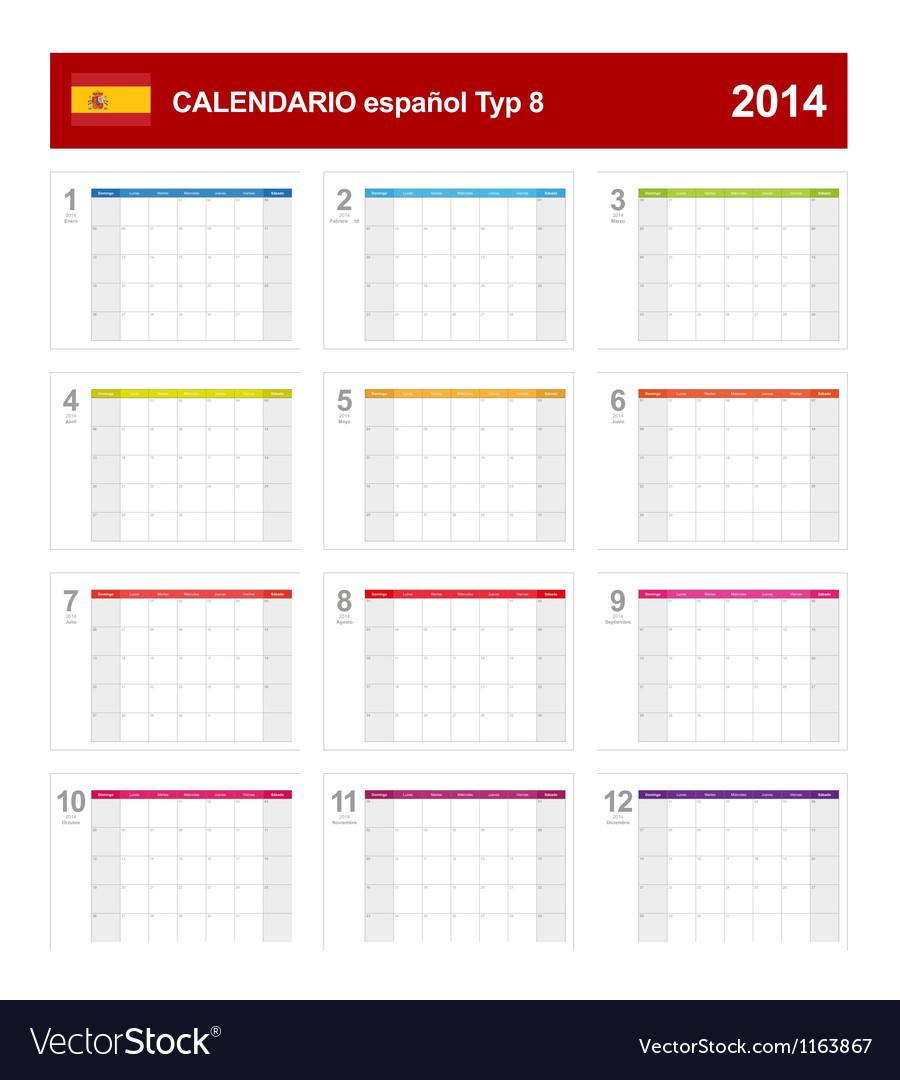 Calendar 2014 spain type 8 vector | Price: 1 Credit (USD $1)