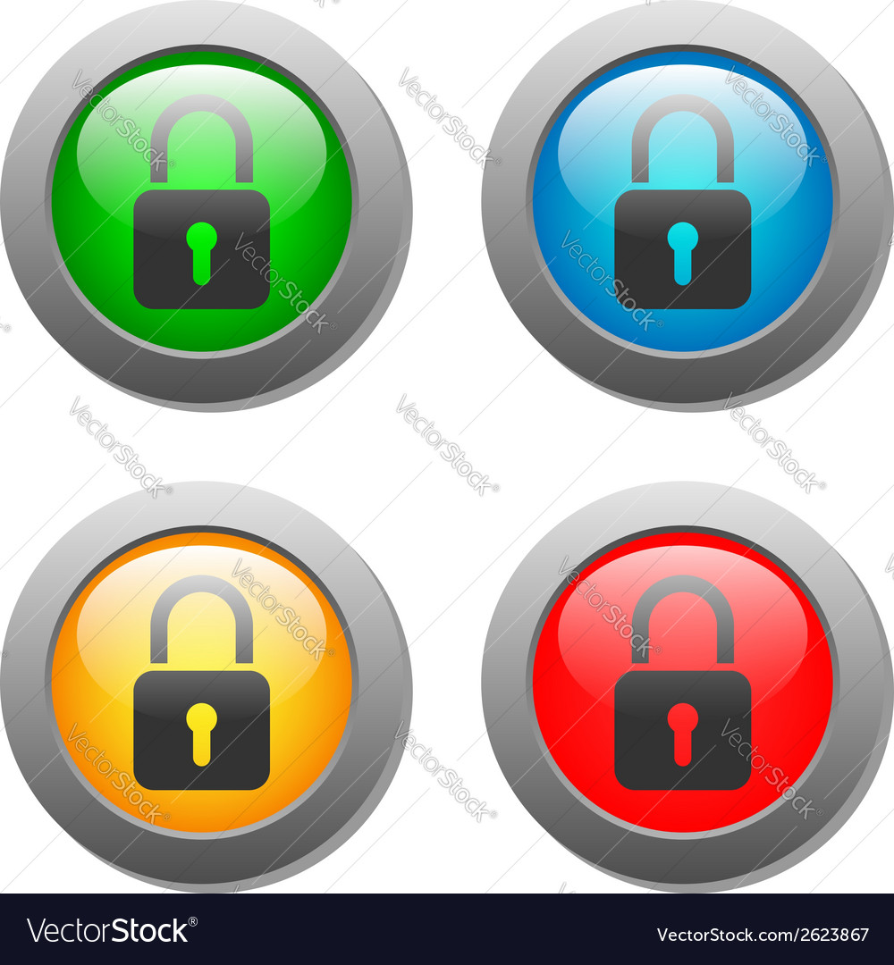 Closed lock icon on glass button set vector | Price: 1 Credit (USD $1)