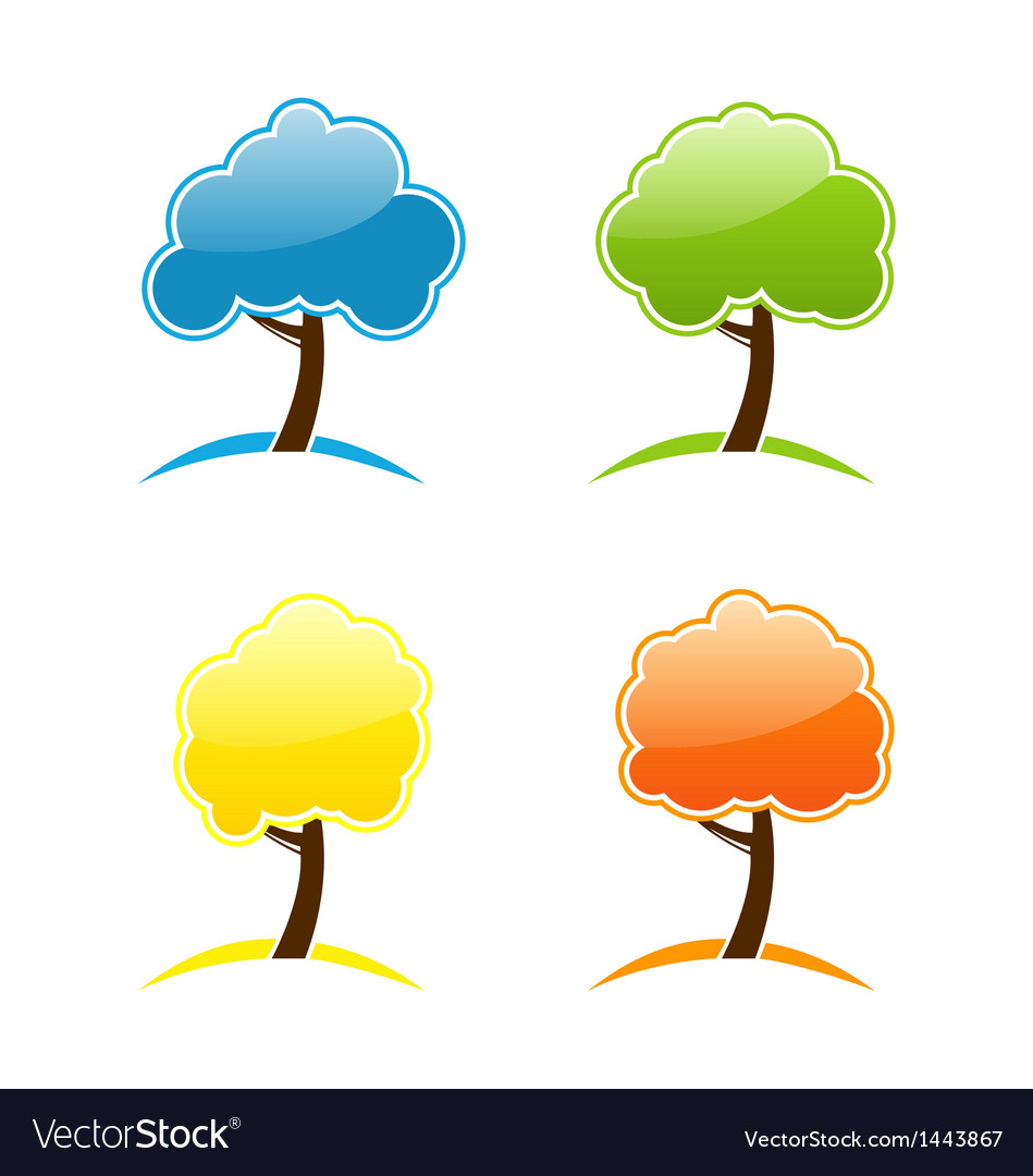 Four seasonal icons with tree vector   Price: 1 Credit (USD $1)