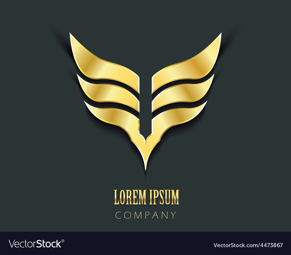 Golden wings graphic symbol vector | Price: 1 Credit (USD $1)