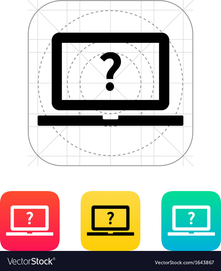 Help and faq laptop icon vector | Price: 1 Credit (USD $1)