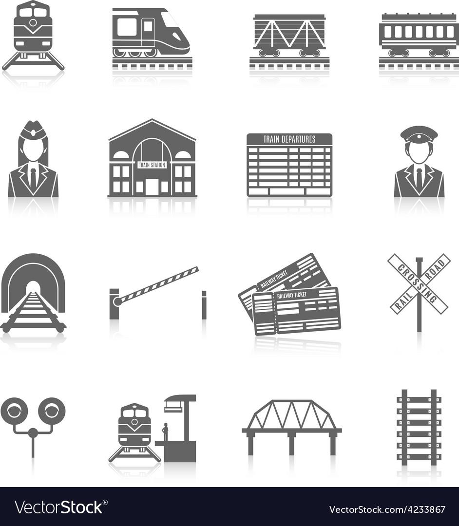 Railway icon set vector | Price: 1 Credit (USD $1)