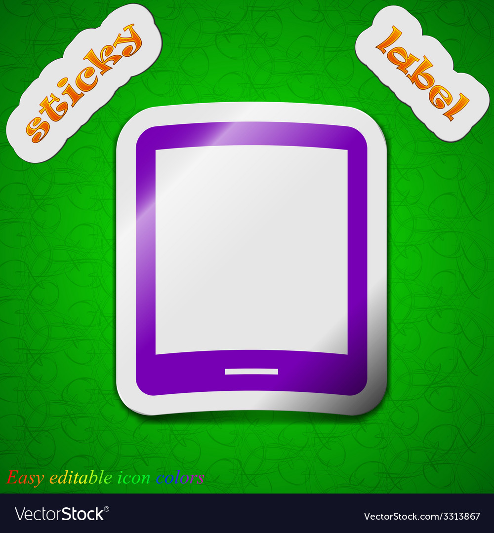 Tablet icon sign symbol chic colored sticky label vector | Price: 1 Credit (USD $1)
