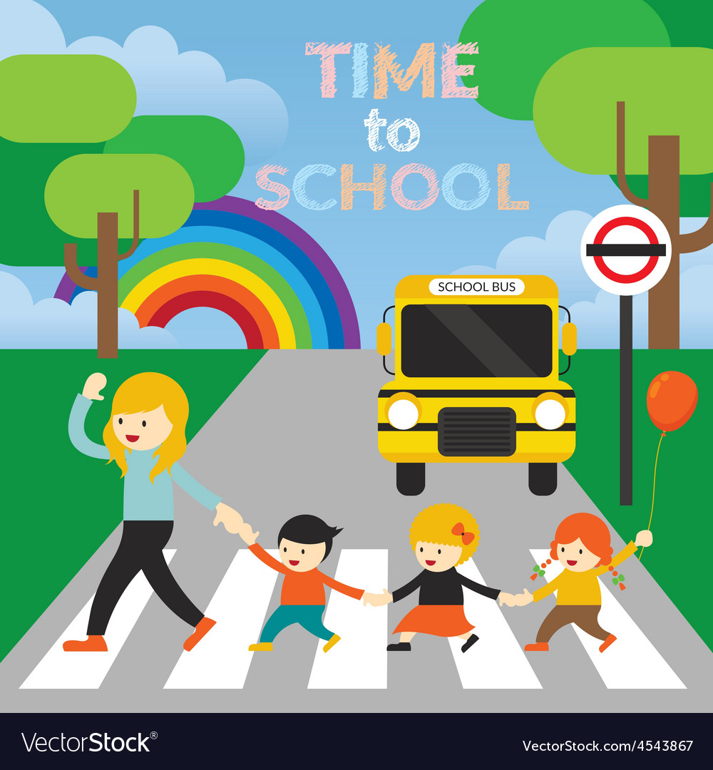 Teacher lead kids cross the street to school vector | Price: 1 Credit (USD $1)
