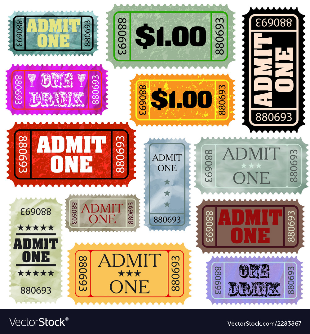Tickets in different styles template set eps 8 vector | Price: 1 Credit (USD $1)