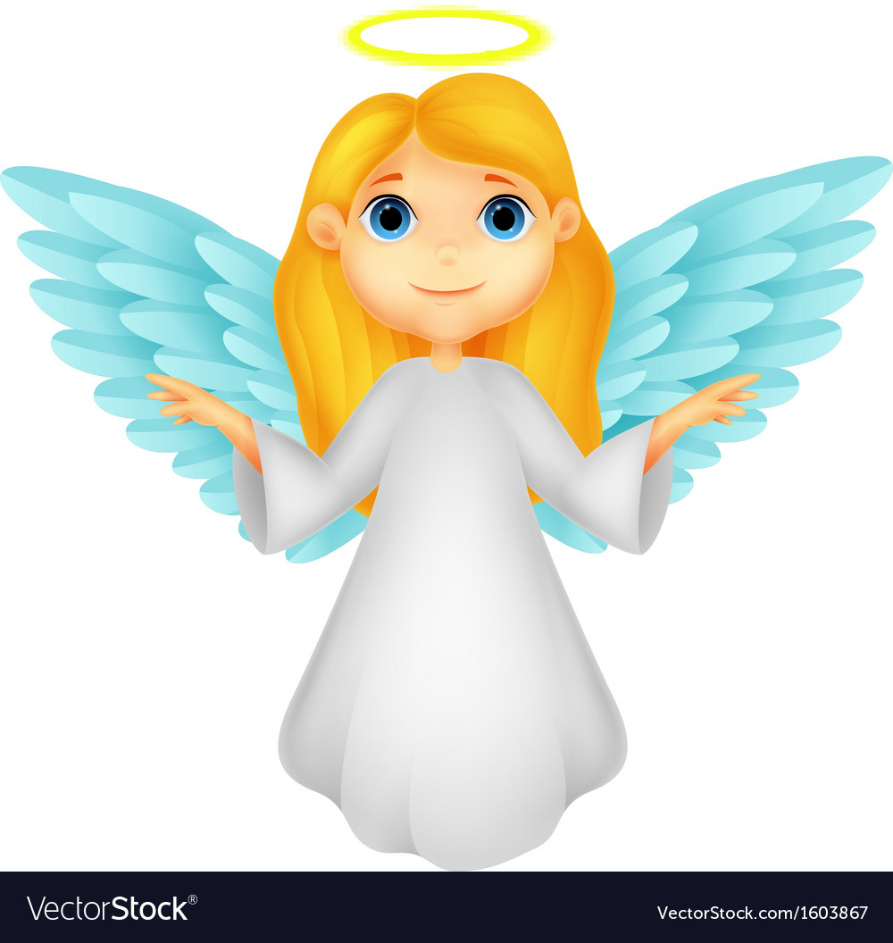 White angel cartoon vector | Price: 1 Credit (USD $1)