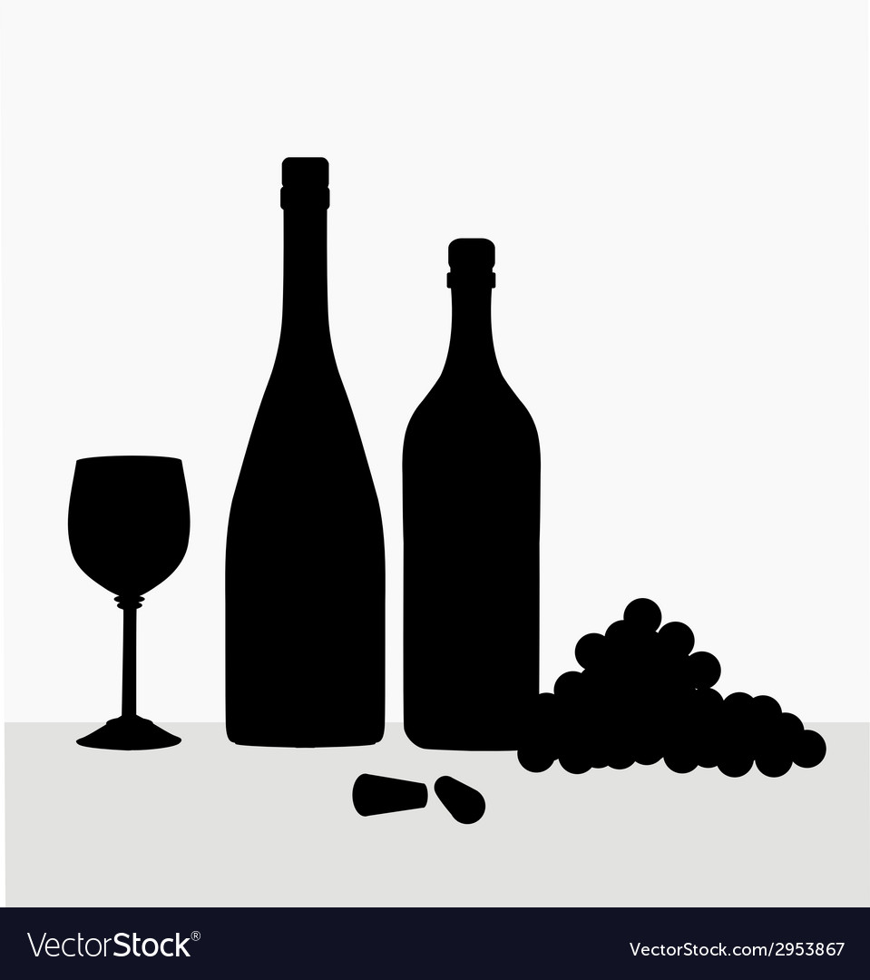 Wine bottlewine glass and grapes vector | Price: 1 Credit (USD $1)