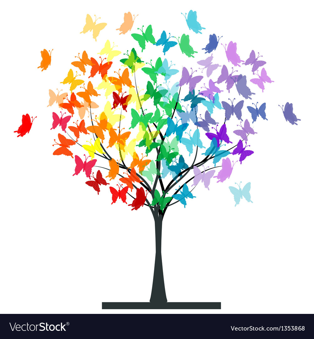 Butterflies rainbow tree vector | Price: 1 Credit (USD $1)