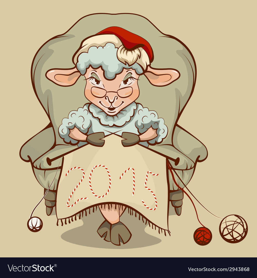 Christmas lamb sitting in a chair and knits symbol vector | Price: 1 Credit (USD $1)