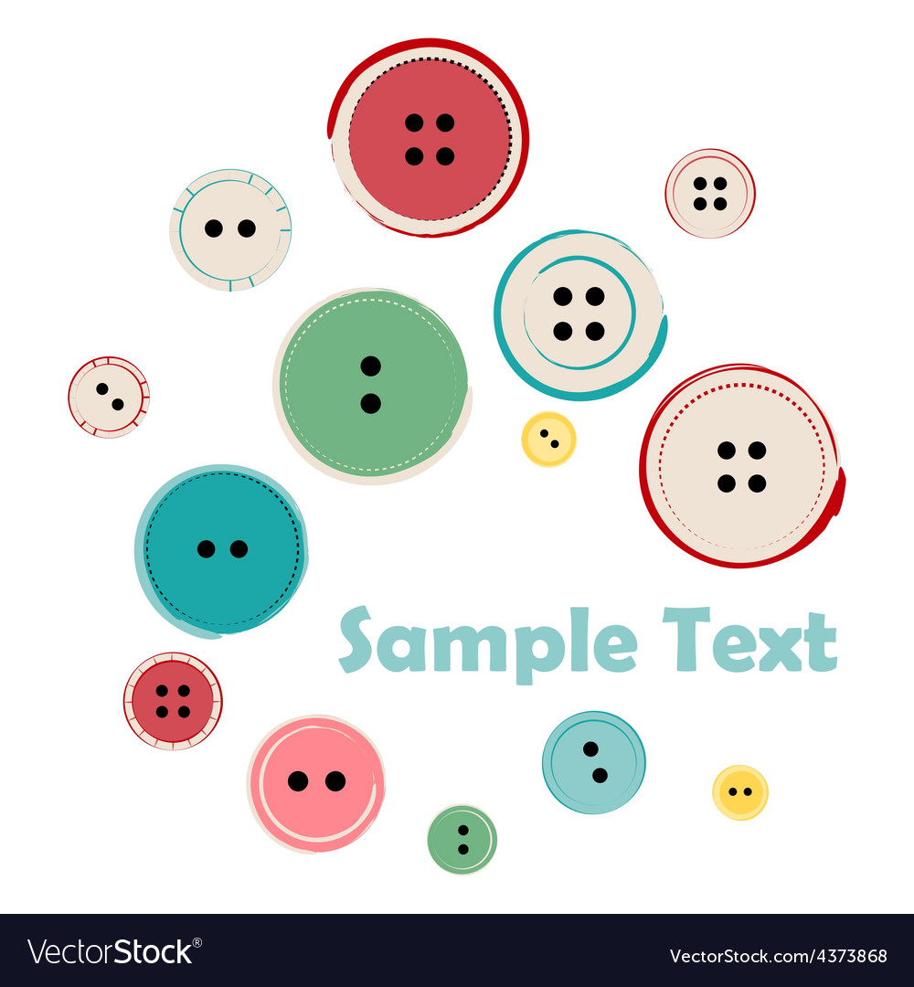 Group of sewing buttons with sample text vector | Price: 1 Credit (USD $1)