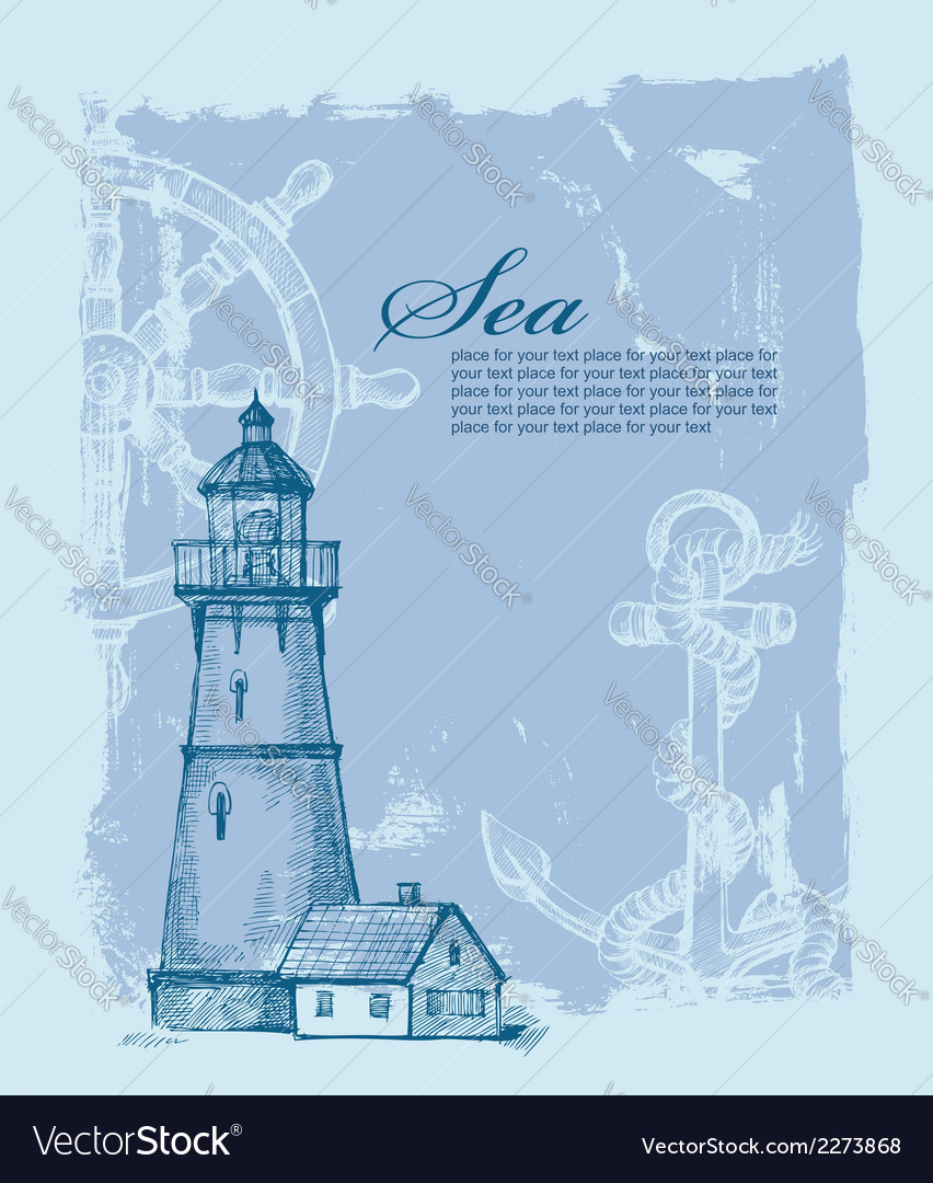 Hand drawn lighthouse vector | Price: 1 Credit (USD $1)