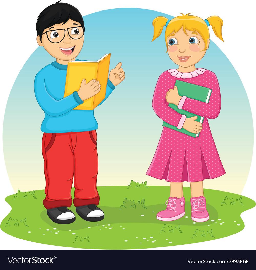 Kids reading book vector | Price: 1 Credit (USD $1)