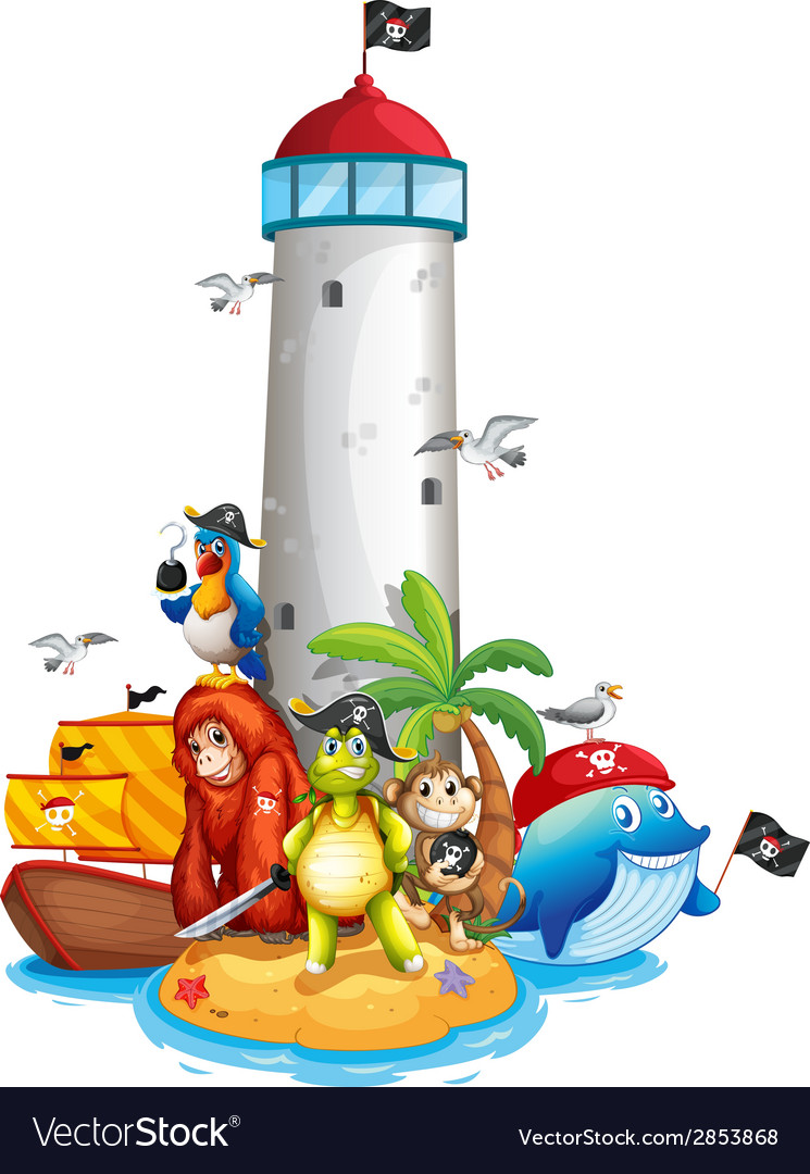 Lighthouse and animals vector | Price: 3 Credit (USD $3)