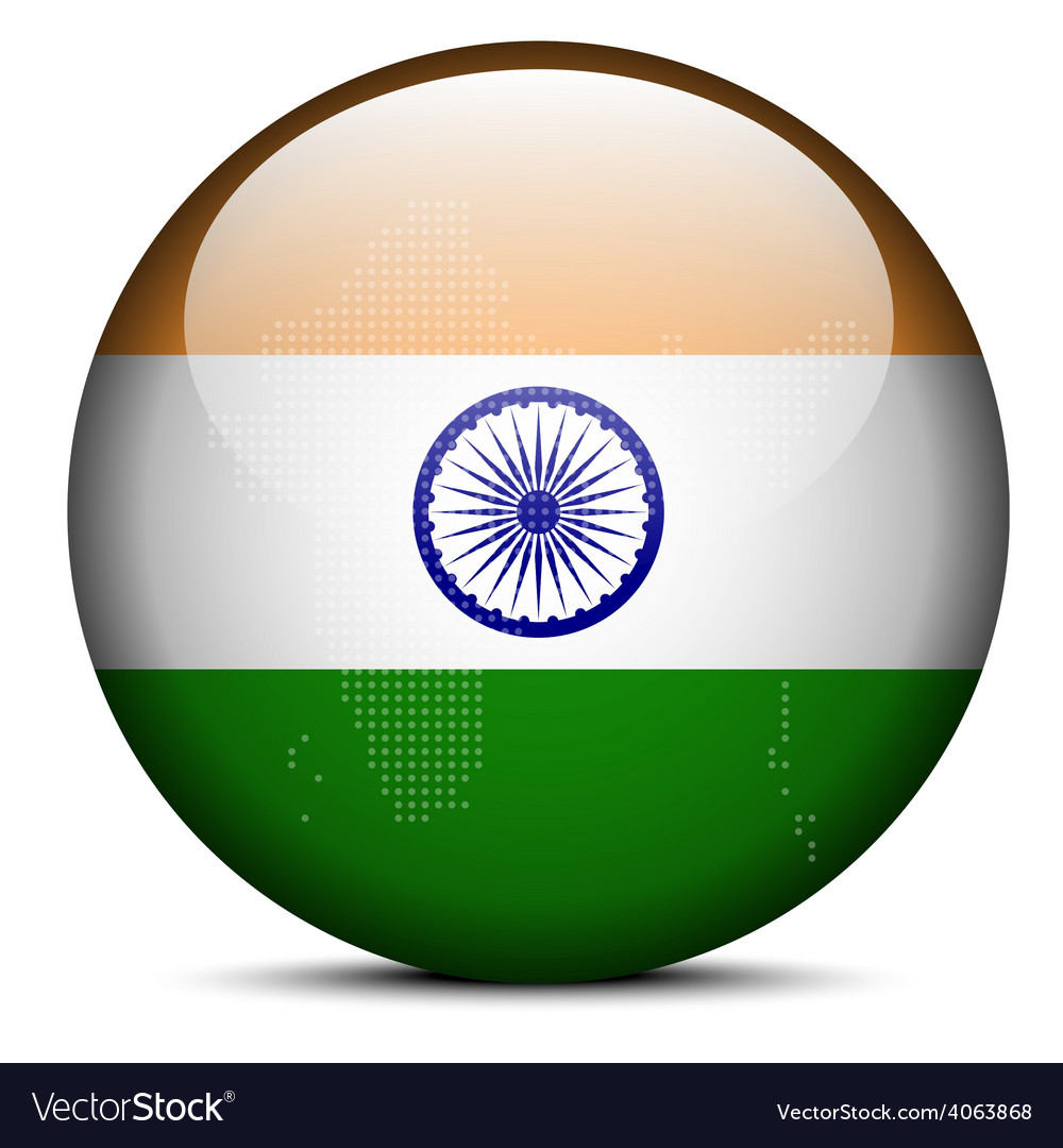 Map with dot pattern on flag button of india vector | Price: 1 Credit (USD $1)