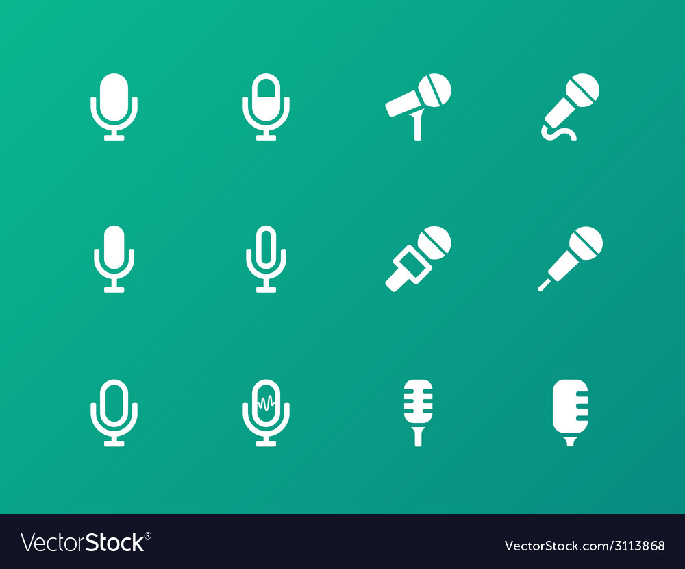 Microphone icons on green background vector | Price: 1 Credit (USD $1)