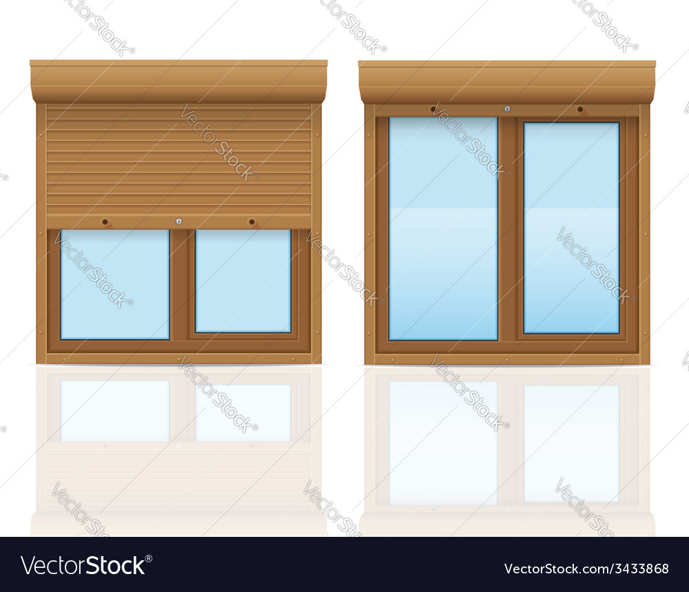 Plastic window with rolling shutters 09 vector | Price: 1 Credit (USD $1)