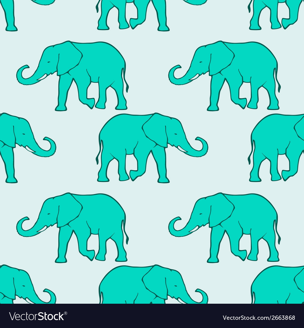Seamless pattern with ilhouette elephants vector | Price: 1 Credit (USD $1)
