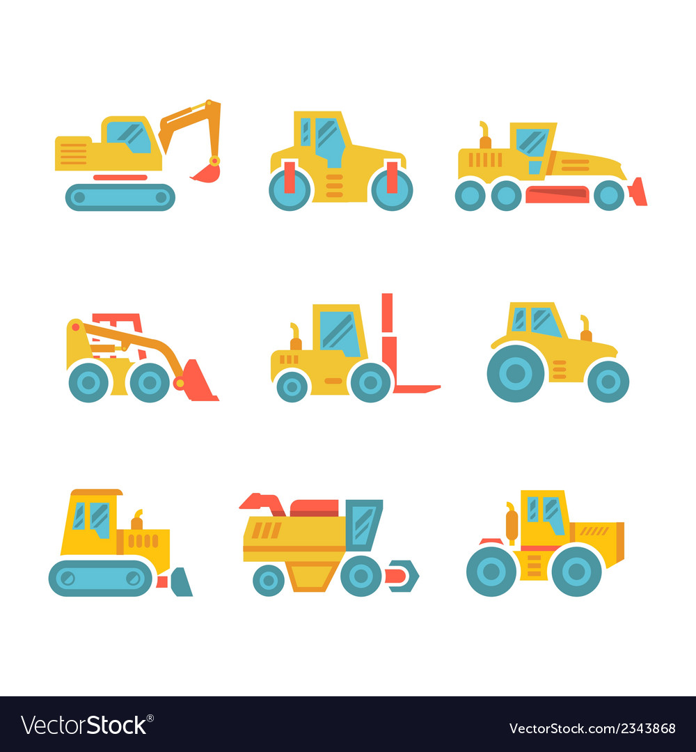 Set modern flat icons of tractors farm machines vector | Price: 1 Credit (USD $1)