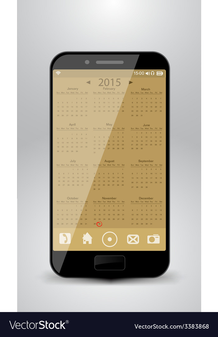 Smartphone with calendar for year 2015 vector | Price: 1 Credit (USD $1)