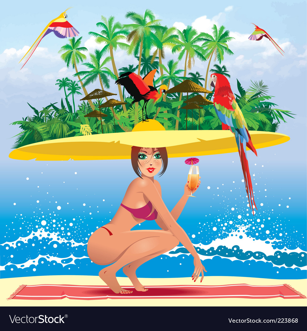 Tropical paradise vector | Price: 10 Credit (USD $10)