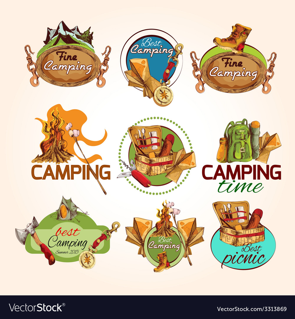 Camping sketch emblems vector | Price: 1 Credit (USD $1)