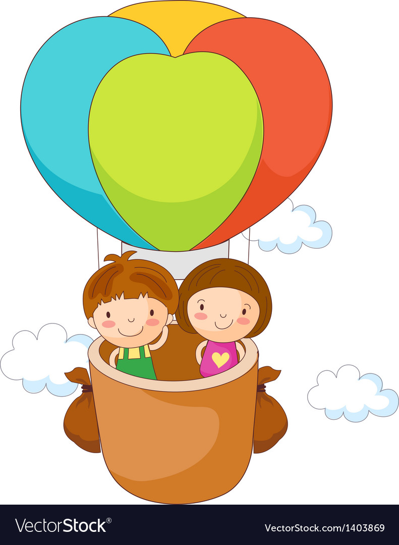 Children in the fire balloon vector   Price: 1 Credit (USD $1)