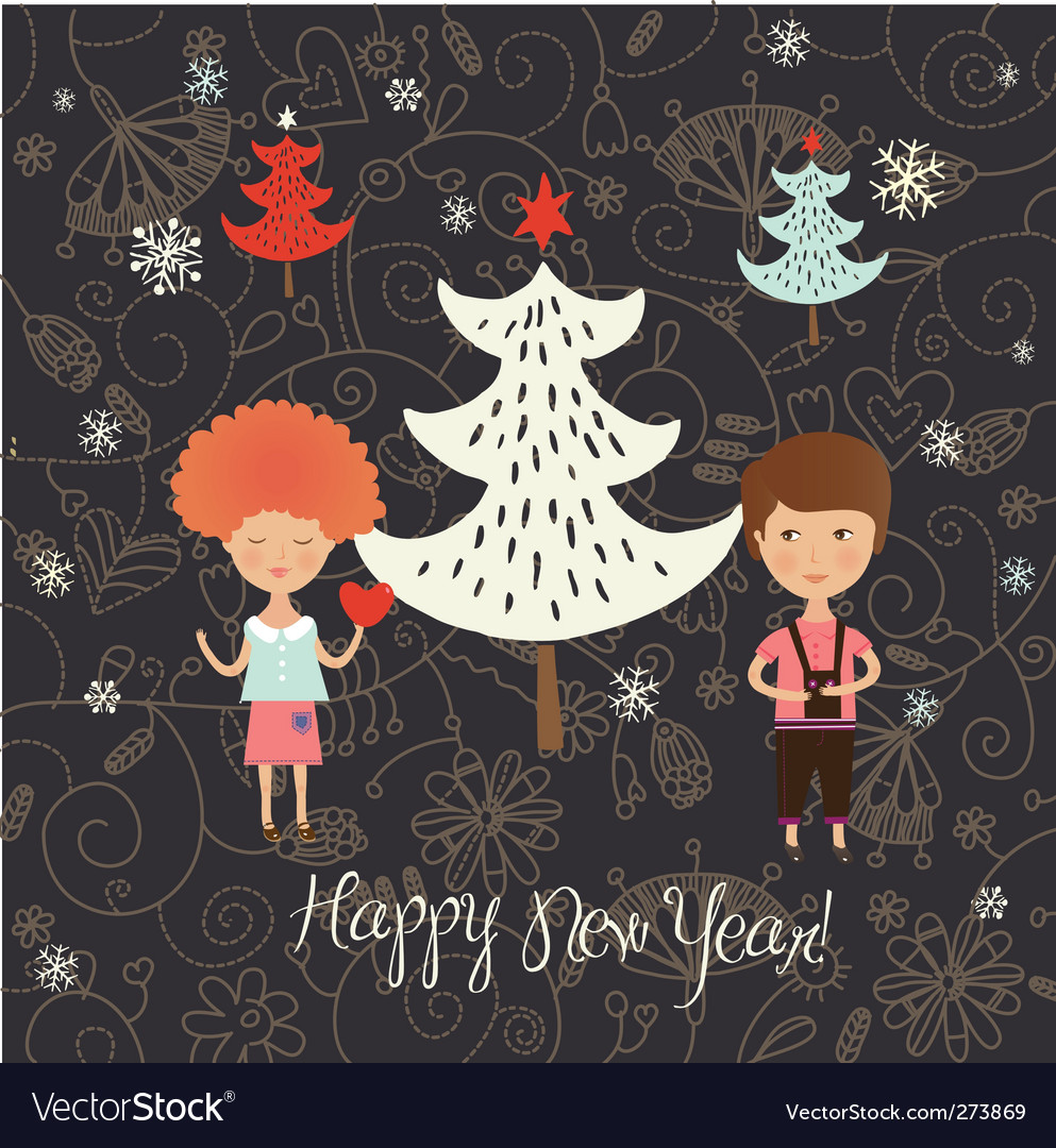 Christmas card with kids vector | Price: 3 Credit (USD $3)