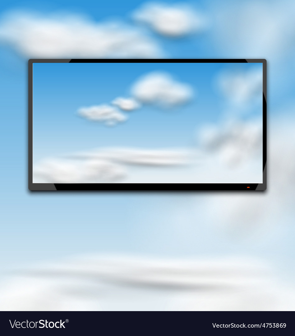 Cloudscape with black tablet pc computer vector | Price: 1 Credit (USD $1)