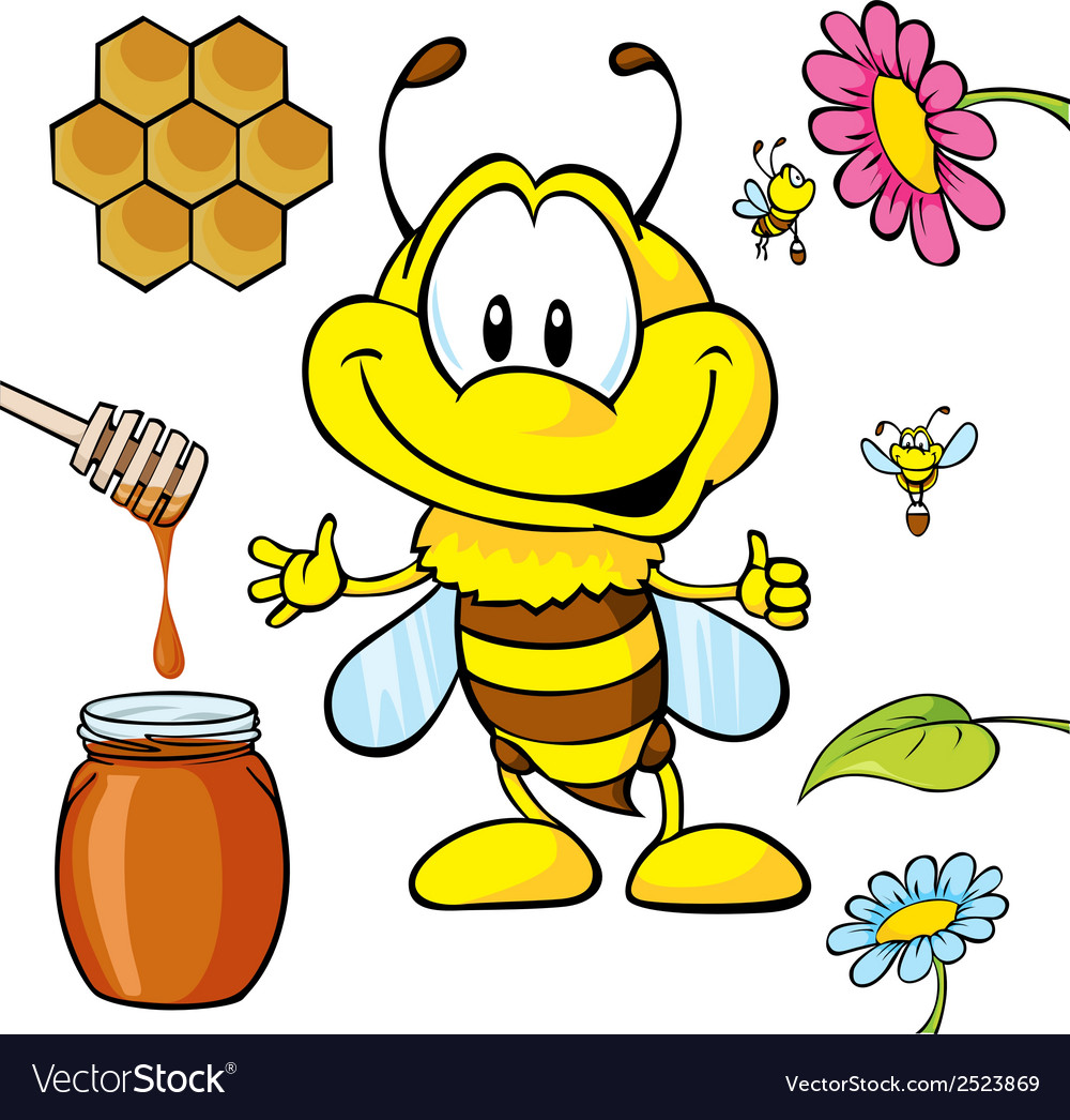 Funny bee cartoon vector | Price: 1 Credit (USD $1)
