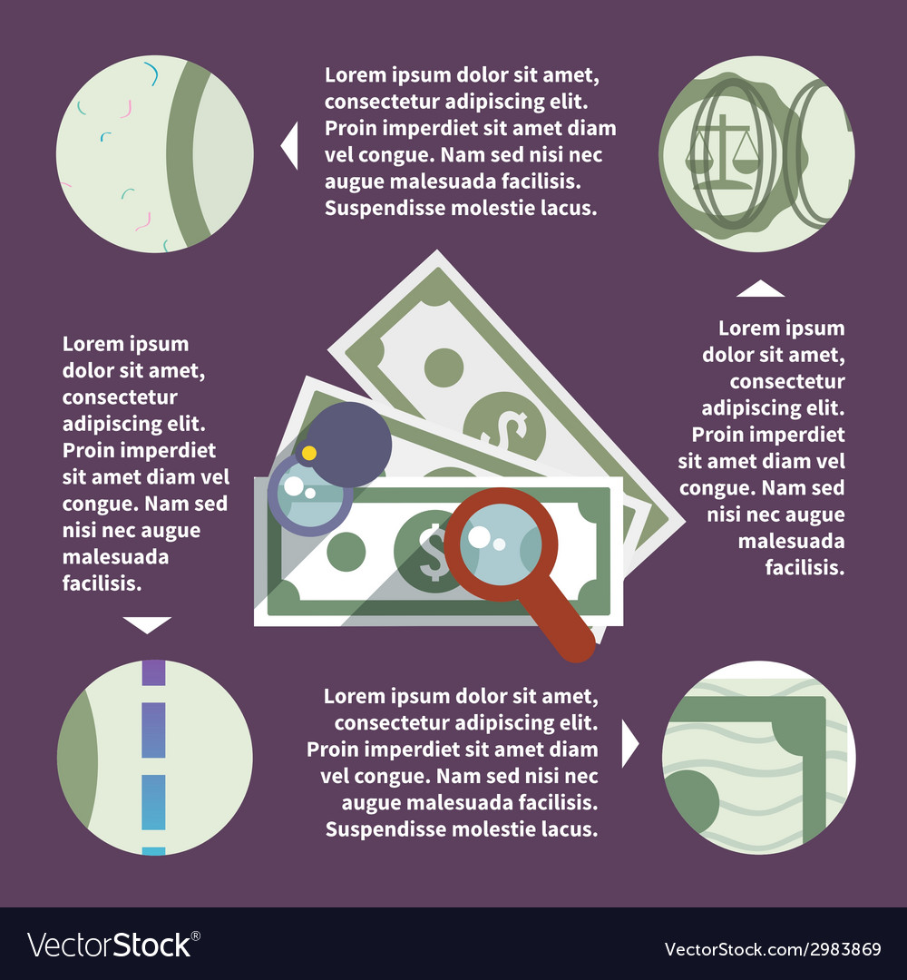 Money inspect infographic vector | Price: 1 Credit (USD $1)