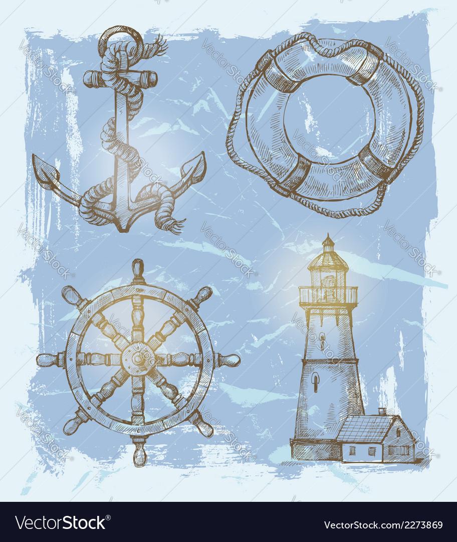 Sea elements vector | Price: 1 Credit (USD $1)